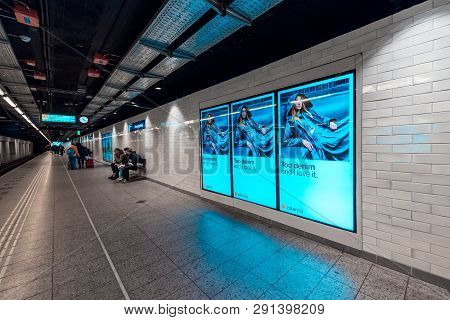 Metro Station Amsterdam Weesperplein,  View On The Platform, Nice Gloing Blue Colours, 3 March 2029,