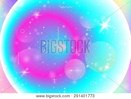 poster of Galaxy background with cosmos and universe shapes and star dust. 3d fluid with magic sparkles. Holographic futuristic gradients. Fantastic space landscape with planets. Memphis galaxy background.