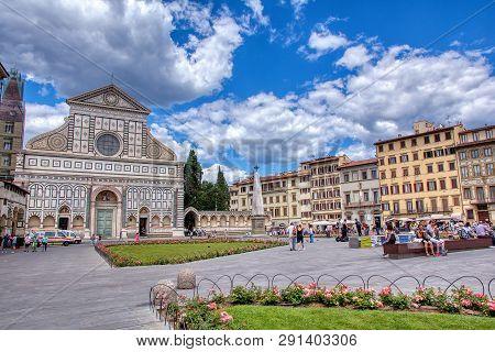Florence, Italy - June 28, 2018: Church Of Santa Maria Novella In Florence, Italy. The Church In Got