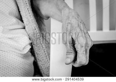 Very Old Senior Woman Hand, Wrinkled Skin