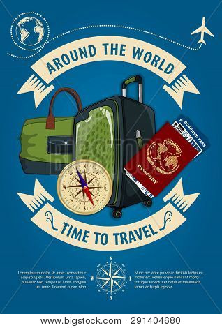 Time To Travel Banner Or Poster With Travel Luggage, Travel Bag, Compass, Passport And Boarding Pass