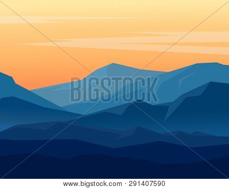 Vector Landscape With Blue Silhouettes Of Mountains On Orange Evening Sky. Huge Geometric Mountain R