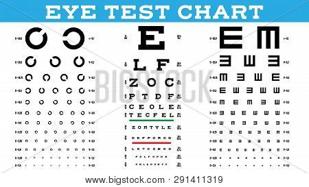 Eye Test Chart Set Vector. Vision Test. Optical Exam. Healthy Sigh. Medical Care. Ophthalmologist, O