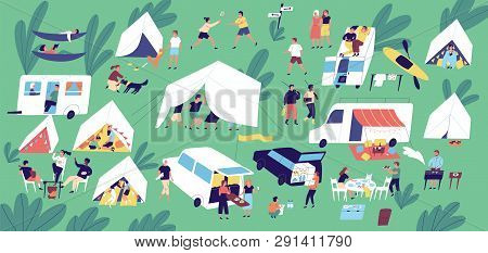 Summer Camp Festival. People Or Tourists Living In Tents, Travel Trailers And Camper Vans, Cooking A