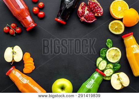 Healthy Organic Juice In Bottles For Fitness Diet And Detox On Black Background Top View Mockup