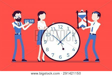 Time Management Giant Clocks, Business People. Manager Controls Employees Working Well, Do Tasks Pro