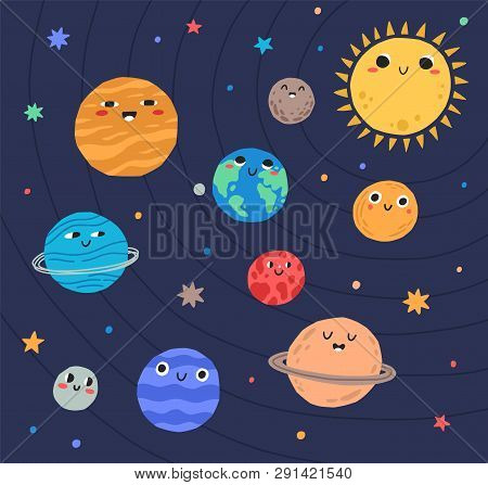 Funny Planets Of Solar System And Sun With Smiling Faces. Adorable Celestial Bodies In Outer Space.