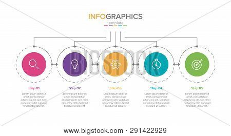 Business Infographic Template With Icons.. Thin Line Design With Numbers 5 Options Or Steps. Infogra