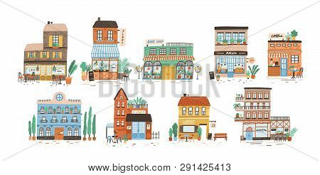 Collection Of Stores, Shops, Cafe, Restaurant, Bakery, Coffee House Isolated On White Background. Bu