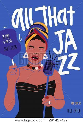 Poster Or Flyer Template For Jazz Music Performance With African American Female Singer, Woman Vocal