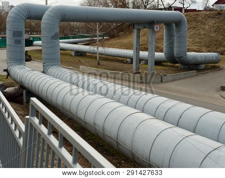 Heating Main. Large Diameter Pipes Are Sharply Curved.
