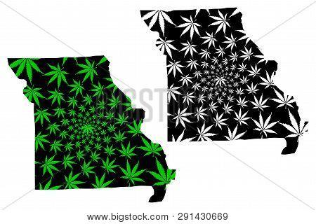 Missouri (united States Of America, Usa, U.s., Us) -  Map Is Designed Cannabis Leaf Green And Black,