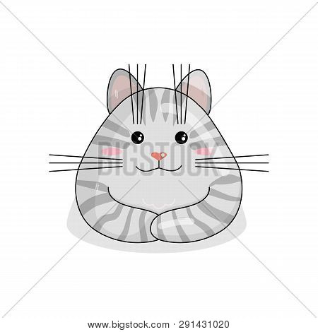 Vector Character Of Siberian Cat In Kawaii Style