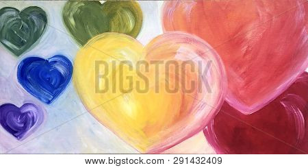 Acrylic Painting On Canvas Of Floating Rainbow Hearts Of Purple Blue Green Yellow Orange Red