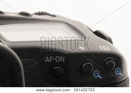 Close-up Macro Shot Of A Modern Digital Slr Camera. Detailed Photo Of Black Camera Body With A Class