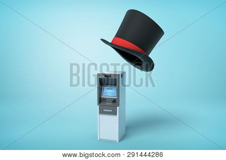 3d Rendering Of Atm And Big Black Tophat Floating In Air Above It On Light Blue Background.