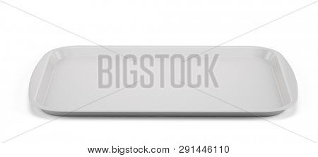 Empty White Plastic Tray salver with Handles Isolated On White. 3d rendering