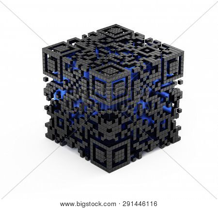 QR code cube concept isolated on white. 3d rendering