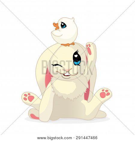 Vector Cartoon Animal Clipart: Bunny And Ducky