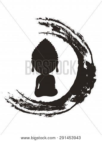 The Black Japanese Circle Vector Seamless Pattern