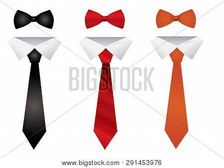 Set Different Ties Isolated On White Background. Colored Tie For Men