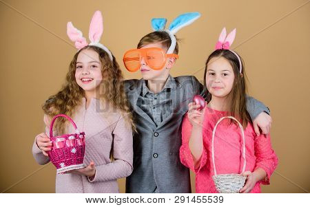 Group Kids Bunny Ears Accessory Celebrate Easter. Easter Activity And Fun. Friends Having Fun Togeth