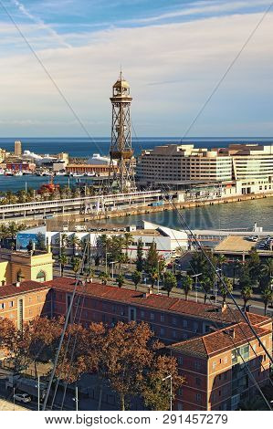 Barcelona, Spain - January 02, 2016: Amazing Landscape View Of Port In Barcelona. View From Cable Ca