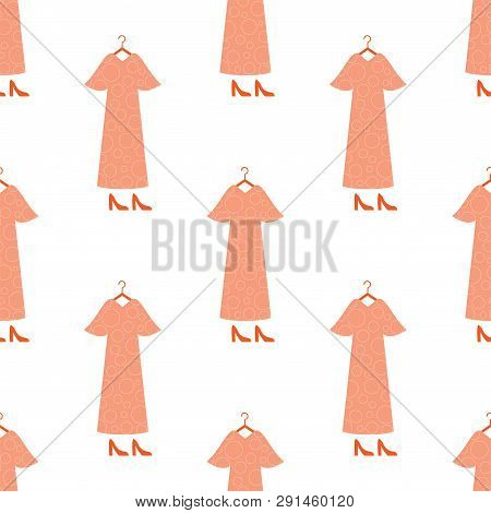 Woman Dress And High Heels Vector Seamless Pattern. Long Gown On Hanger Hand Drawn Illustration. Car