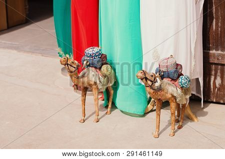 Uae, Dubai - January, 2019: Two Toy Camels At The Gift Shop In Al Seef Area. Traditional Arab Souven