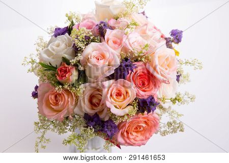 Luxury Bouquet Made Of Roses In Flower Shop Valentines Bouquet Of Pastell Roses