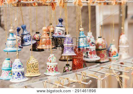 Uae, Dubai - January, 2019: Souvenirs At The Traditional Arab Market In Al Seef Area. Small Colorful