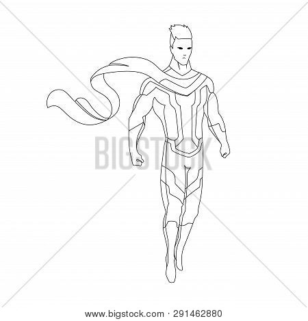 Superhero For Coloring Book Isolated. Comic Book Vector Illustration.