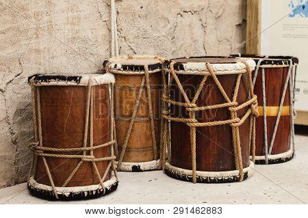 Uae, Dubai - January, 2019: Drums In Arabic Style At Al Seef Walking Street