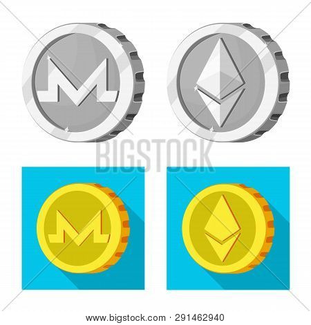 Isolated Object Of Cryptocurrency And Coin Icon. Set Of Cryptocurrency And Crypto Stock Symbol For W