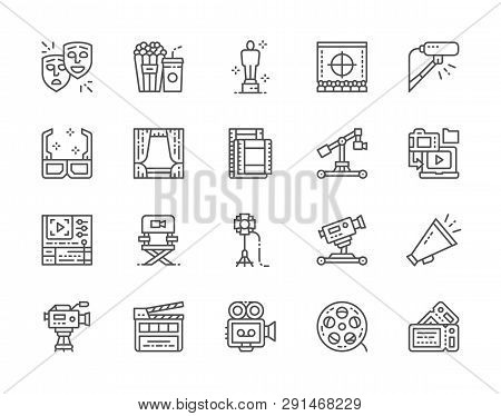 Set Of Cinema Line Icons. Popcorn, Masks, Clapper Board, Tickets And More.