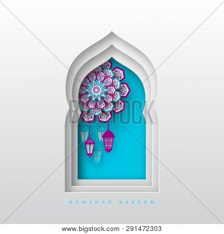 Ramadan Kareem Greeting Background. 3d Paper Cut Arabic Window Decorated Pattern In Traditional Isla