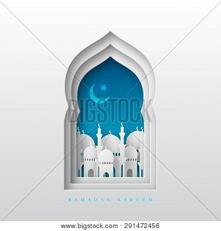 Ramadan Kareem Greeting Background. 3d Paper Cut Arabic Window With Mosque And Crescent. Design For