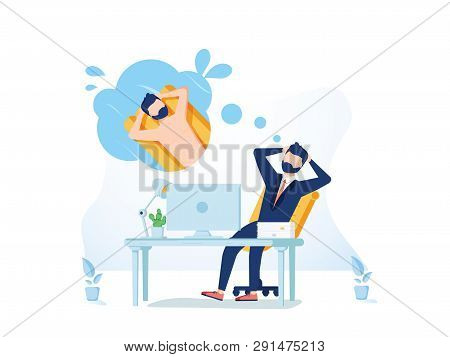 Business Man Is Relaxing And Dreaming About Surfing And Vacation On A Tropical Island At His Work Pl