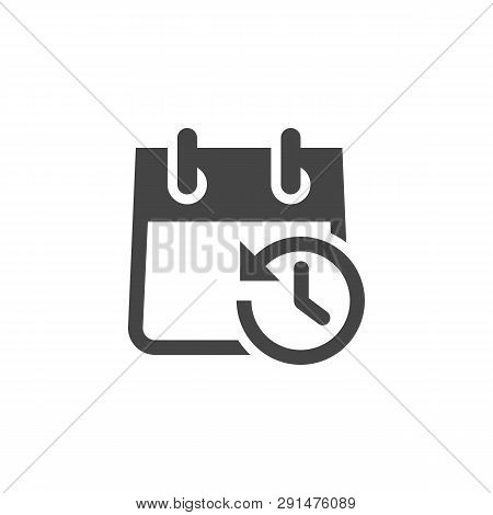 Icon Of Calendar With Clock And Arrow In Opposite Direction. Schedule, Agenda, Organizer, Timepiece,