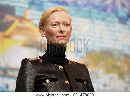 Tilda Swinton attends the 'The Souvenir' press conference during the 69th Berlinale International Film Festival Berlin at Grand Hyatt Hotel on February 12, 2019 in Berlin, Germany.