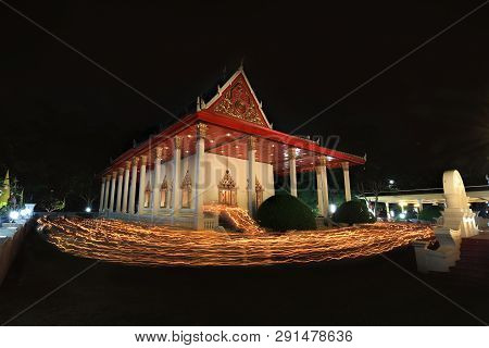 Sea Of Light From Candle Light Procession Around The Uposatha Of Buddhist To Pay Respect Buddha On M