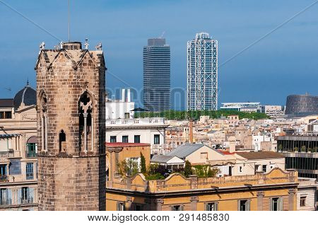 Barcelona - Old And New. View Of Barcelona With Belltower Of Capella De Santa Agata And Skyscrapers.