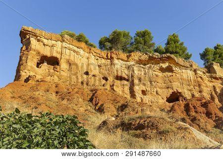 Caves In The Mountain - Escarpment Above Anento Village, Province Of Zaragoza, Aragon, Spain