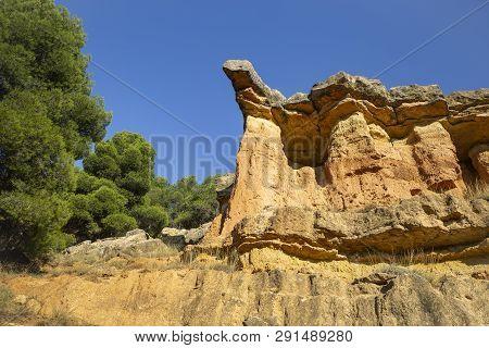 Escarpment Detail Next To Anento Village, Province Of Zaragoza, Aragon, Spain