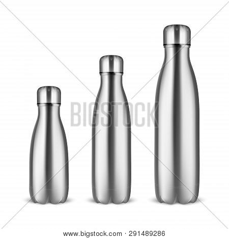 Vector Realistic 3d Silver Empty Glossy Metal Reusable Water Bottle Set With Silver Bung Closeup On
