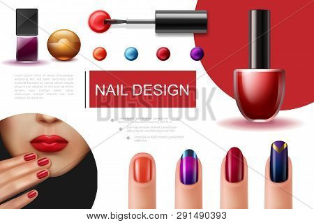 Realistic Nail Polish Composition With Brush Colorful Bottles Of Lacquer And Female Fingers With Bea