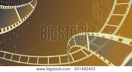 Cinema Motion Picture With Different Film Reel In 3d Isometric Style Movie Camera With Film Spotligh