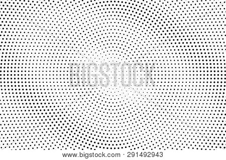 Black And White Halftone Vector Background. Diagonal Gradient On Centered Dotwork Texture. Round Dot