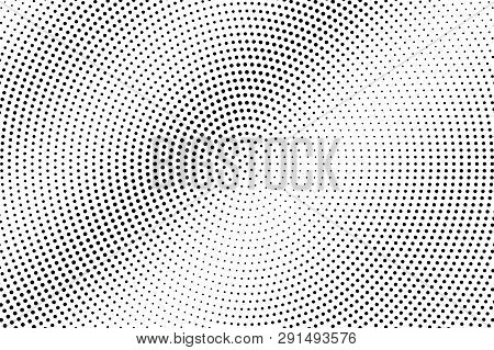Black And White Halftone Vector Background. Diagonal Gradient On Frequent Dotwork Texture. Round Dot