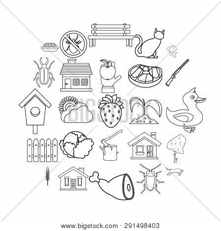 Bower Icons Set. Outline Set Of 25 Bower Icons For Web Isolated On White Background